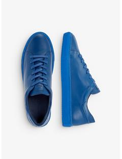 Mens Leather Block Sneakers Pop Blue