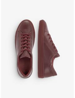 Mens Leather Block Sneakers Zinfandel