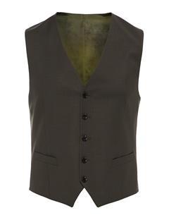 Mens Justin Comfort Wool Waistcoat Dark Green