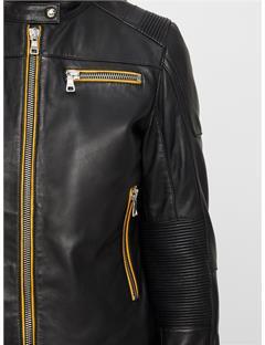 Womens Okeeffe Moto Leather Jacket Black