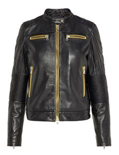 Womens Okeeffe Moto Leather Jacket Black