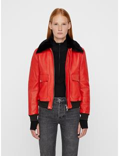 Womens Baker Shiny Leather Jacket Molten Lava