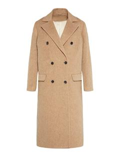 Womens Amaris Fluffy Wool Coat Burro