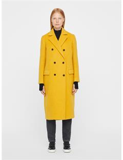 Womens Amaris Fluffy Wool Coat Yolk Yellow
