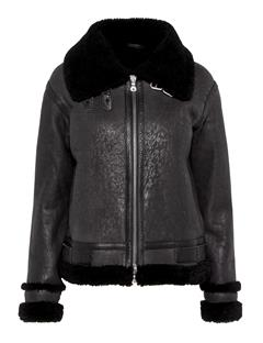 Womens Marcelle Distressed Shearling Coat Black