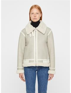 Womens Marcelle Distressed Shearling Coat Off White