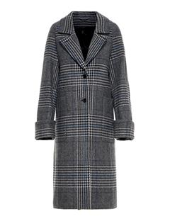 Womens Kahlo Wool Plaid Coat Wonder Blue