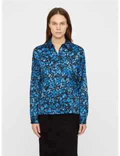 Womens Mallory Washed Silk Shirt Wonder Blue