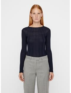 Womens Carol Merino Ribbed Sweater JL Navy