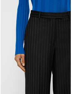 Womens Kori Wool Pin Pants Black Stripe