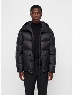 Mens Ash Shiny Poly Puffer Coat Black