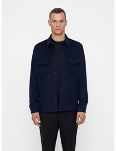 Mens David Flat Wool Overshirt JL Navy