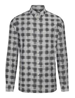 Mens Daniel Offset Plaid Shirt Black