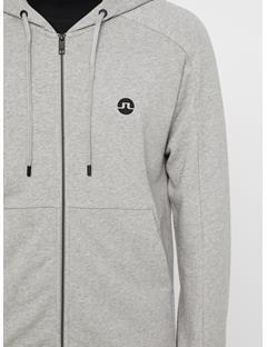 Mens Throw Ring Loop Zip Up Hoodie Lt Grey Melange