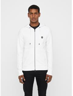 Mens Throw Ring Loop Zip Up Hoodie White