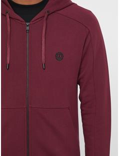Mens Throw Ring Loop Zip Up Hoodie Zinfandel