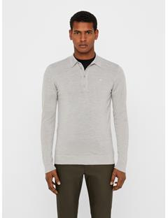 Mens Newman Perfect Merino Knit Polo Stone Grey