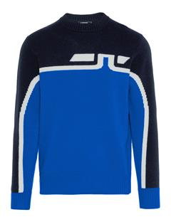 Mens Akon Chunky Wool Sweater Pop Blue
