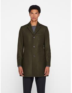 Mens Wolger Compact Melton Coat Dark Green