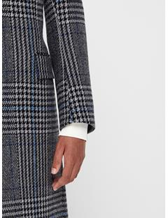 Mens James Wool Plaid Coat Wonder Blue