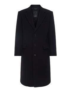 Mens James Twill Melton Coat Black