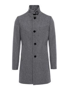 Mens Holger Compact Melton Coat Grey Melange