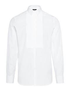 Mens Daniel Poplin Plisse Tux Shirt White