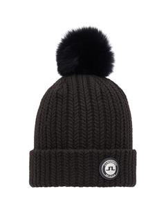 Mens Fur Ball Beanie Black
