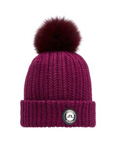Mens Fur Ball Beanie Dark Mahogany