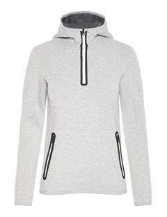 Womens Logo Tech Sweat Hoodie Stone Grey Melange