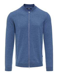 Mens Lyam True Merino Bomber Sweater Blue Melange