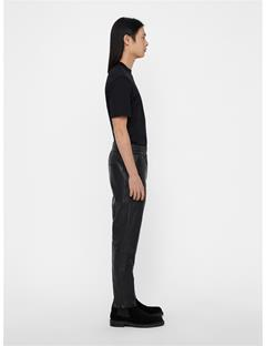 Mens Shaken Light Leather Pants Black