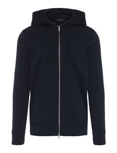 Mens Throw Zip Hood Ring Loop Sweat Black
