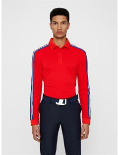 Mens Blue Cool Pique Polo Racing Red