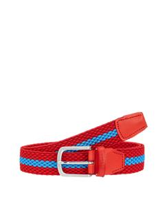 Mens Hades Elastic Striped Belt Deep Red