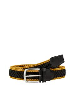 Mens Fulton Elastic Striped Belt Black