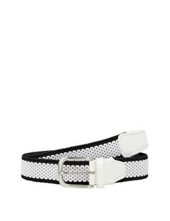 Mens Fulton Elastic Striped Belt White