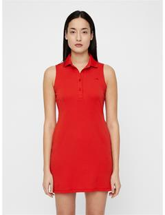 Womens Elsi Cotton-Poly Dress Deep Red