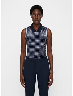 Womens Yuri Compression Polo Navy Polka Dot