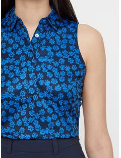 Womens Dena Flower Print Polo Pop Blue Flower Print