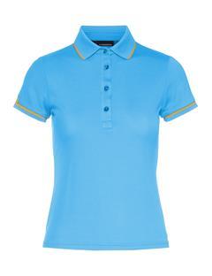 Womens Leana Lux Pique Polo Ocean Blue
