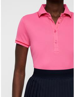 Womens Leana Lux Pique Polo Pop Pink