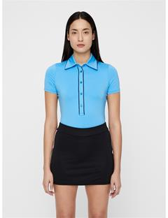 Womens Flor Compression Polo Ocean Blue