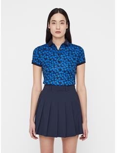 Womens Tour Tech Flower Print Polo Pop Blue Flower Print