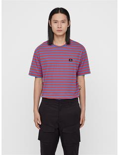 Mens Charles Plain Striped Tee Deep Red
