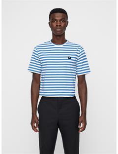 Mens Charles Plain Striped Tee Work Blue