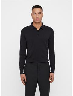Mens Rowan Cotton Silk Polo Black