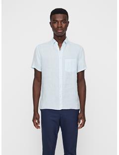 Mens Daniel Linen Melange Short Sleeve Shirt Ice Flow