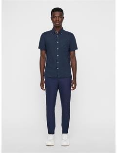 Mens Daniel Linen Melange Short Sleeve Shirt JL Navy