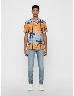 Mens David Printed Palm Resort Shirt Cool Peach